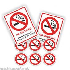 No Smoking Pack/Set of  Adhesive 50mm Rounds Vehicle Signs Safety Car/Van/Fleet